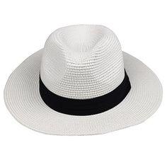 LNPBD Summer fashion white flat brim wide brim women s strawhat women s  jazz fedoras hat sun- 3784b26b9bc4