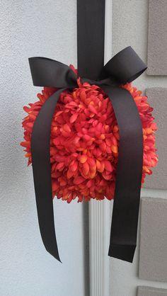 Fall Wedding Decor Pomander Kissing Ball Orange by JCBees on Etsy