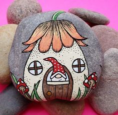 Pebble Painting, Pebble Art, Stone Painting, House Painting, Diy Painting, Painting Flowers, Painting Tools, Painting Techniques, Rock Painting Patterns