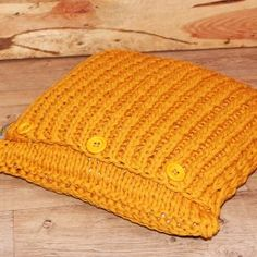 Pletený polštář - Mustard