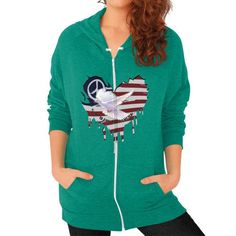 God bless in the america Zip Hoodie (on woman)