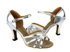 """Very Fine Ladies Women Ballroom Dance Shoes for Latin Salsa Tango Classic 6027 Silver Leather & F 2.5"""" Very Fine Shoes. $56.95"""