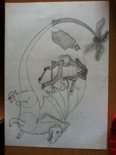 5.Deze draak heb ik erbij getekend omdat ik niet zo zeker was over wat ik eerst had. De staart van de draak loopt over in de palmboom. Ik probeer de draak zo realistisch mogelijk te maken.