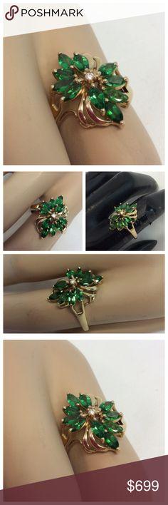 RARE TSAVORITE &.DIAMOND SET IN 14K GOLD Rare TSAVORITE Gemstones and diamond set in 14K gold, approximate size 6 1/2. Jewelry Rings