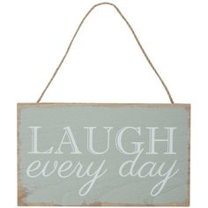 M&Co Laugh Every Day Sign ($4.55) ❤ liked on Polyvore featuring home, home decor, wall art, words, sign, text, grey, wooden wall art, wooden signs and wood signs