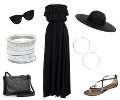 Black dress, sandals, bag, silver bracelets, silver hoop earrings