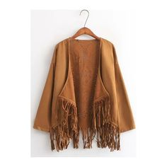 Rotita Long Sleeve Tassel Design Light Tan Suede Kimono ($24) ❤ liked on Polyvore featuring light tan