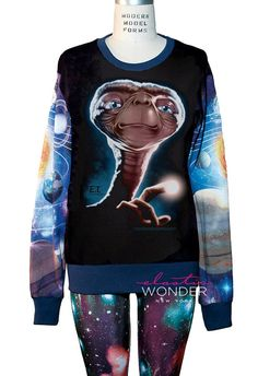 E.T. Extraterrestrial Alien in Galaxy All Over Print Loose Fitting Long Sleeve Sweater