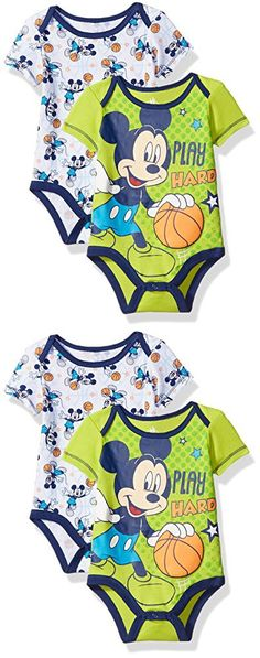 Disney Baby Boys' Mickey Mouse Adorable Soft Two-Pack Bodysuits, Play Hard Lime, 6-9 Months