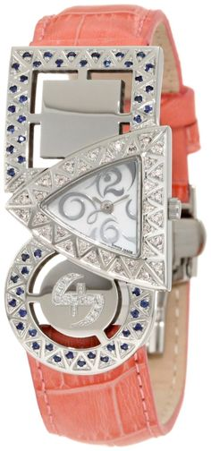 Swisstek SK21908L Limited Edition Swiss Pink And White Diamond Watch With Blue Sapphires, Interchangeable Leather Strap And Sapphire Crystal  Price:$796.00