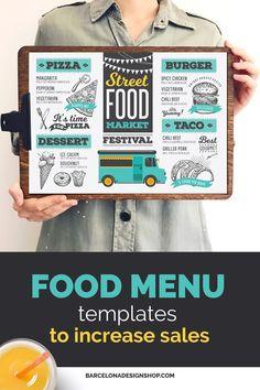 All food menus Archives - Barcelona Design Shop Food Menu Design, Food Truck Design, Restaurant Menu Design, Burger Menu, Pizza Menu, Food Menu Template, Menu Templates, Brunch Menu, Dinner Menu