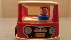 Vintage 1969  Fisher Price Little People Red Mini Bus Van 141 Seats 5 #FisherPrice