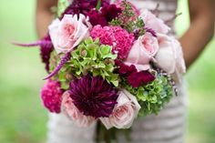 Pretty pink, hot pink, magenta, and lime green bouquet. High color contrast bouquets like this one photograph beautifully.