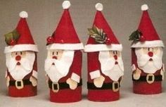 looks like toilet paper roll art. Christmas Activities, Christmas Crafts For Kids, Holiday Crafts, Christmas Diy, Christmas Decorations, Christmas Ornaments, Father Christmas, Paper Towel Roll Crafts, Paper Crafts