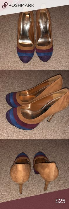 Multicolored pumps Taupe, burgundy, blue and purple pumps Shoes Heels