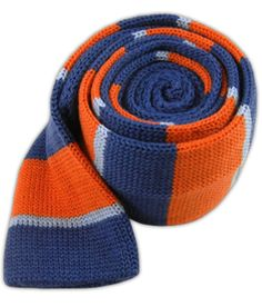 Knit Stacked Stripe - Blues/Orange (Wool Skinny) | Ties, Bow Ties, and Pocket Squares | The Tie Bar