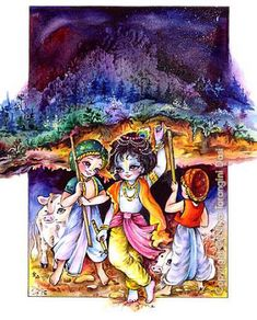 Krishna lifts Govardhan hill to protect his friends and cows from Indra's rainstorm. Krishna Lila, Little Krishna, Bal Krishna, Cute Krishna, Jai Shree Krishna, Krishna Art, Radhe Krishna, Lord Krishna Images, Radha Krishna Images