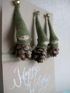 Tiny Pine Cone Elves -- Easy peesy...you need pinecones, small Styrofoam balls, green felt and small bells. by patricé
