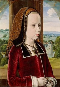 Painting by Jean Hey (Master of Moulins, active fourth quarter 15th c.), ca. 1490, Margaret of Austria, Oil on oak panel.   #Early_Netherlandish painter working in France.