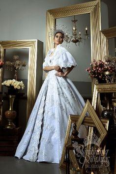 Camille Manalo in national costume gown Modern Filipiniana Gown, Filipiniana Wedding Theme, Maria Clara Dress Philippines, Philippines Fashion, Philippines People, Bridal Gowns, Wedding Gowns, Debut Gowns, Filipino Wedding