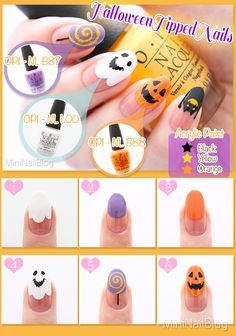 Halloween Tipped Nails Tutorial! Inspired by #MissJenFabulous Details on my blog! https://nailbees.com/halloween-tipped-nails
