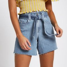 Mid authentic blue denim Tie waist Elasticated waistband Raw hems Side slip pockets Back patch pockets Our model wears a UK 8 and is 175cm/5'9'' tall