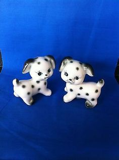 Vintage Salt And Pepper Shaker Set Dalmation Puppy Dog Pepper Spice, Salt And Pepper Set, Cream And Sugar, Sugar And Spice, Kitchen Black, Vintage Cookies, Salt Pepper Shakers, Vintage Glassware, Cookie Jars