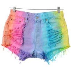 Vintage Levis 501 High Waist RAINBOW OMBRE Dip Dyed Denim Cut Off... ($65) ❤ liked on Polyvore featuring shorts, bottoms, pants, high waisted cut off shorts, distressed high waisted shorts, high-waisted shorts, distressed denim shorts and ripped denim shorts
