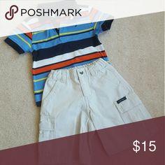 Nautica Toddler/ Boys shorts set 2-piece set. Orange & Navy stripped polo, Khaki shorts. Gently worn. Serious inquiries only. No trades. Nautica Matching Sets