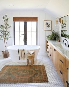 A bright and stylish bathroom design . I just love the little floor tiles! Bathroom Renos, Small Bathroom, Bathroom Remodelling, Natural Bathroom, Downstairs Bathroom, Spa Master Bathroom, Remodled Bathrooms, Colorful Bathroom, Bathroom Blinds