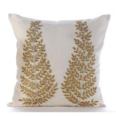 Natural Linen Decorative Throw Pillow Covers Accent Pillow Couch Linen Pillow Case 16x16 Gold ...