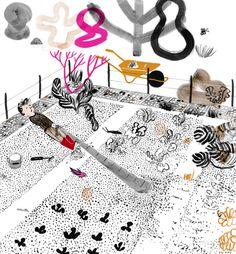 """It's Raining Elephants(Nina Wehrle & Evelyne Laube) -  illustration for Spring Magazine """"ABC of Tragedy"""",  2013"""