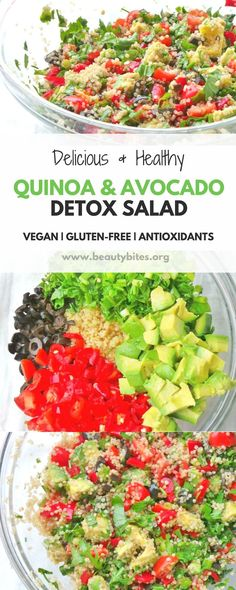 To think I used to hate on quinoa for being so famous...this quinoa & avocado detox salad proved me sooo wrong! This healthy salad recipe is amazing - whether you're trying to lose weight, live healthy or just wanna try out new stuff - I promise you, this salad will make you happy. Wonder what to eat to feel great? Well, this easy and delicious clean-eating salad. It's vegan, nut-free and gluten-free.