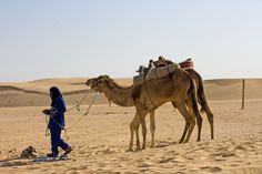 A man and a camel in the Sahara, Africa  Photo Aili Alaiso Finland