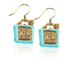 Born to Shop Bag Charm Earrings