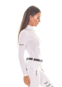 • Aztec Diamond Equestrian technical stretch base layer in White | size medium •