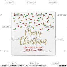 Gold Red Glitter Confetti Merry Christmas Napkin