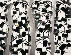 Chinese artist Wu Guanzhong and his paintings at China Online Museum. Painting For Kids, Art For Kids, Wu Guanzhong, Chinese Landscape, Landscape Art, Kid Ink, Chinese Brush, China Art, Chinese Calligraphy