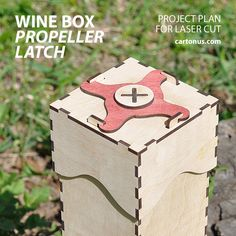 Our new invention: Propeller latch on wood boxes. Construction turned out to be an unusual kind. Propeller latch perfectly keeps lid on Wine box.