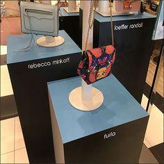 Branded Purse Pedestal Triplet Display – Fixtures Close Up Retail Merchandising, Triplets, Arcade Games, Pedestal, Nordstrom, Product Launch, Display, Purses, Handbags