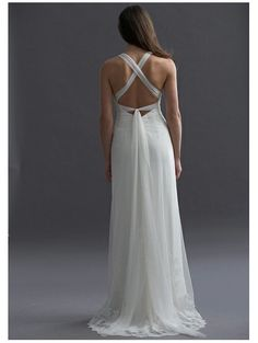 Sheath Sweetheart Empire Waist Pleated Long Chiffon Spaghetti Straps White Casual Wedding Dresses
