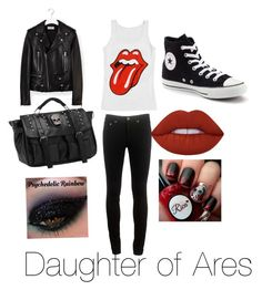 """Daughter of Ares outfit"" by cheetahloverlol on Polyvore featuring Yves Saint Laurent, rag & bone, Converse and Lime Crime"