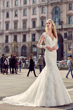 EDDY K. MILANO bridal 2017 sheer lace long sleeves deep plunging neckline heavily embellished bodice elegant mermaid wedding dress low back chapel train (md218) mv  #bridal #wedding #weddingdress #weddinggown #bridalgown #dreamgown #dreamdress #engaged #inspiration #bridalinspiration #weddinginspiration #weddingdresses #lace #sleeves