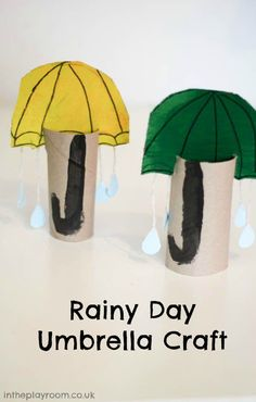 rainy day umbrella craft made from cardboard tubes