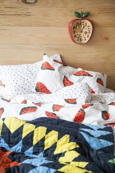 Watermelon duvet set  star quilt by gorman • Home Time. See the full story on The Design Files http://thedesignfiles.net/2013/11/gorman-home-time/
