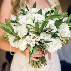 White and Green Bridal Bouquet | Braedon Photography | Theknot.com