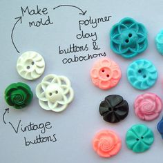 Make polymer clay buttons by making molds of vintage buttons! Fimo Clay, Polymer Clay Projects, Polymer Clay Creations, Polymer Clay Beads, Diy Buttons, Vintage Buttons, Biscuit, Mold Making, Button Crafts