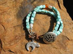 La MontanaLeather Turquoise and Pearl   by fleurdesignz on Etsy, $28.00