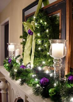 Beautiful Christmas Mantel With Purple and Green Glass Ball Ornaments