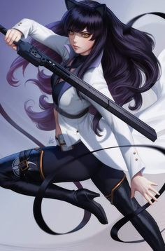 """Here is my RWBY cover for issue featuring Blake Belladonna. It will be in store January You can order it at your local comic store. Blake Belladonna, Rwby Blake, Rwby Anime, Rwby Fanart, Anime Poses Female, Manga Poses, Stanley Lau, Rwby Characters, Team Rwby"